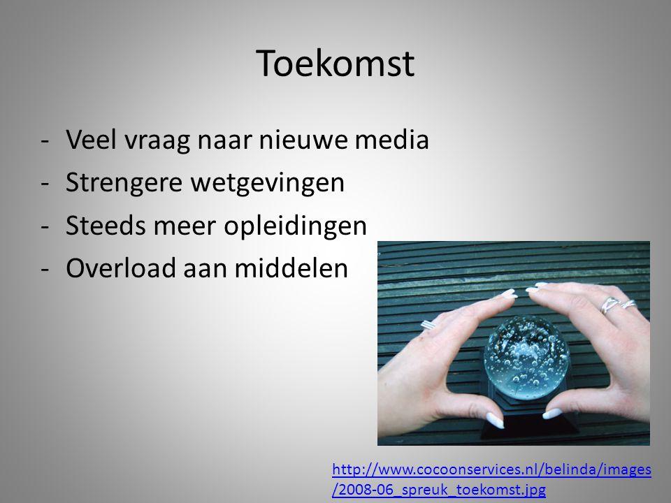 Toekomst -Veel vraag naar nieuwe media -Strengere wetgevingen -Steeds meer opleidingen -Overload aan middelen http://www.cocoonservices.nl/belinda/images /2008-06_spreuk_toekomst.jpg