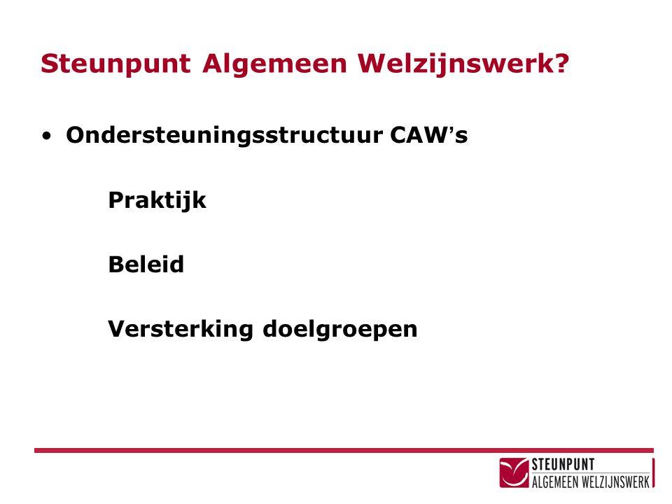 Steunpunt Algemeen Welzijnswerk? Ondersteuningsstructuur CAW ' s Praktijk Beleid Versterking doelgroepen