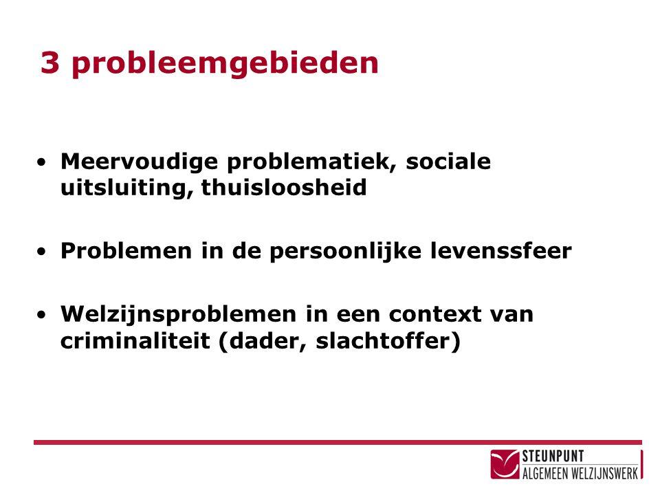 3 probleemgebieden Meervoudige problematiek, sociale uitsluiting, thuisloosheid Problemen in de persoonlijke levenssfeer Welzijnsproblemen in een cont
