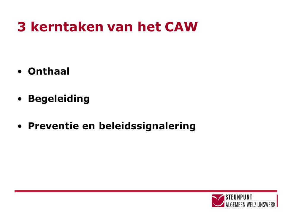 3 kerntaken van het CAW Onthaal Begeleiding Preventie en beleidssignalering
