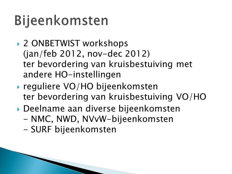  2 ONBETWIST workshops (jan/feb 2012, nov-dec 2012) ter bevordering van kruisbestuiving met andere HO-instellingen  reguliere VO/HO bijeenkomsten ter bevordering van kruisbestuiving VO/HO  Deelname aan diverse bijeenkomsten - NMC, NWD, NVvW-bijeenkomsten - SURF bijeenkomsten