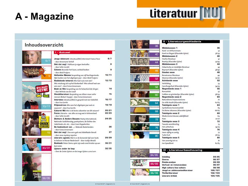 Deel I - Actueel - Grote variëteit aan artikelen: boek & film, Cabaret, literaire prijzen, Interviews, boekenkast van BN'ers, zelf een boek schrijven, etc.