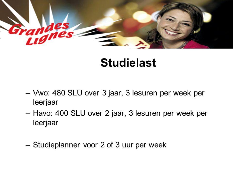 Studielast –Vwo: 480 SLU over 3 jaar, 3 lesuren per week per leerjaar –Havo: 400 SLU over 2 jaar, 3 lesuren per week per leerjaar –Studieplanner voor