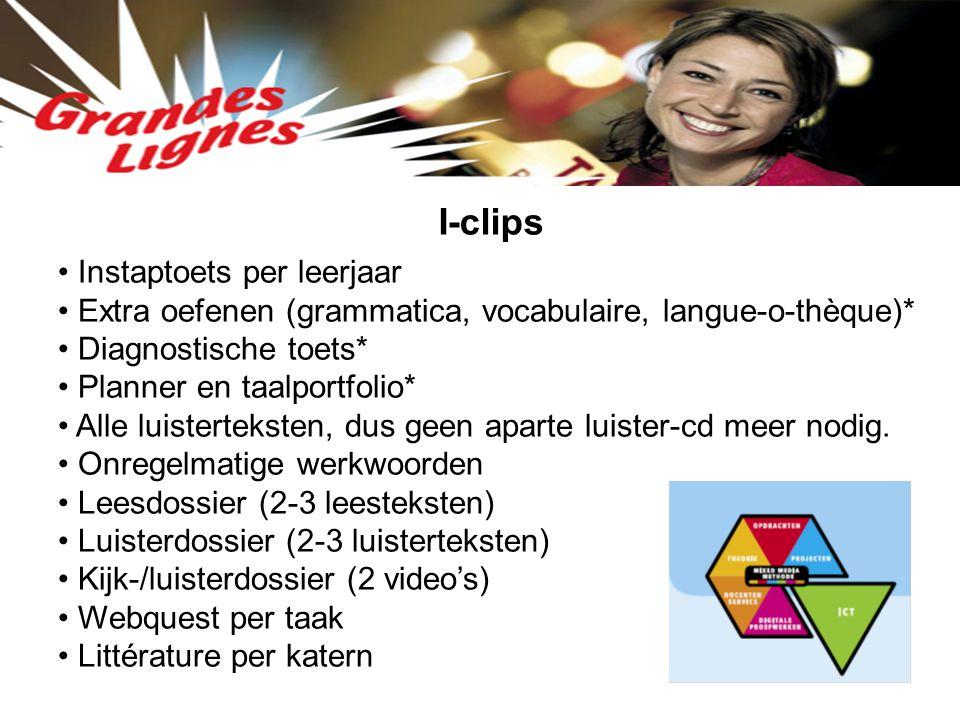 I-clips Instaptoets per leerjaar Extra oefenen (grammatica, vocabulaire, langue-o-thèque)* Diagnostische toets* Planner en taalportfolio* Alle luister