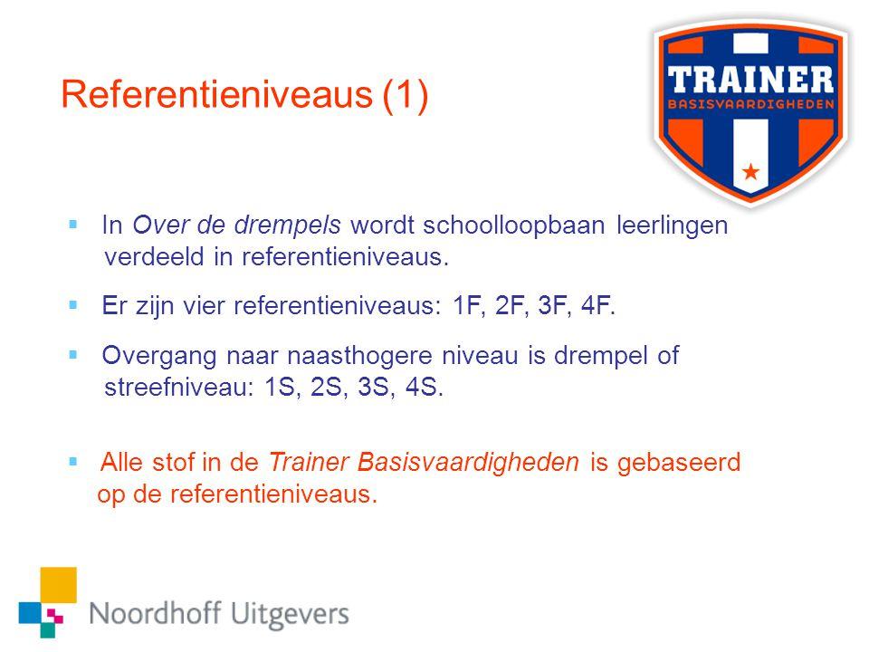 Referentieniveaus (1)  In Over de drempels wordt schoolloopbaan leerlingen verdeeld in referentieniveaus.  Er zijn vier referentieniveaus: 1F, 2F, 3