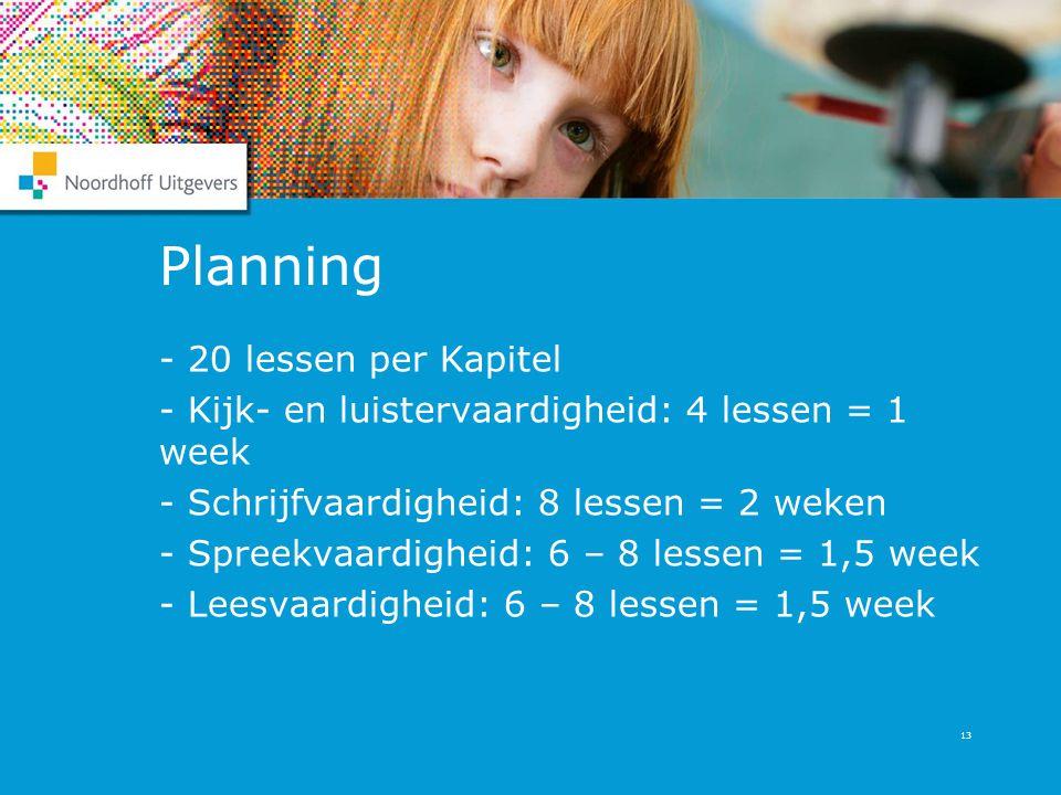 13 Planning - 20 lessen per Kapitel - Kijk- en luistervaardigheid: 4 lessen = 1 week - Schrijfvaardigheid: 8 lessen = 2 weken - Spreekvaardigheid: 6 –