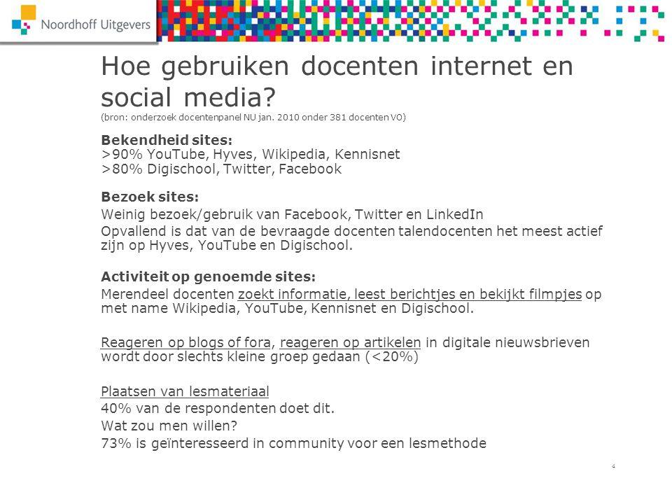 4 Hoe gebruiken docenten internet en social media? (bron: onderzoek docentenpanel NU jan. 2010 onder 381 docenten VO) Bekendheid sites: >90% YouTube,