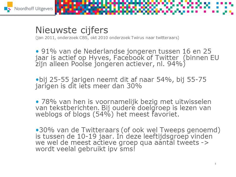 5 Nieuwste cijfers (jan 2011, onderzoek CBS, okt 2010 onderzoek Twirus naar twitteraars) 91% van de Nederlandse jongeren tussen 16 en 25 jaar is actie