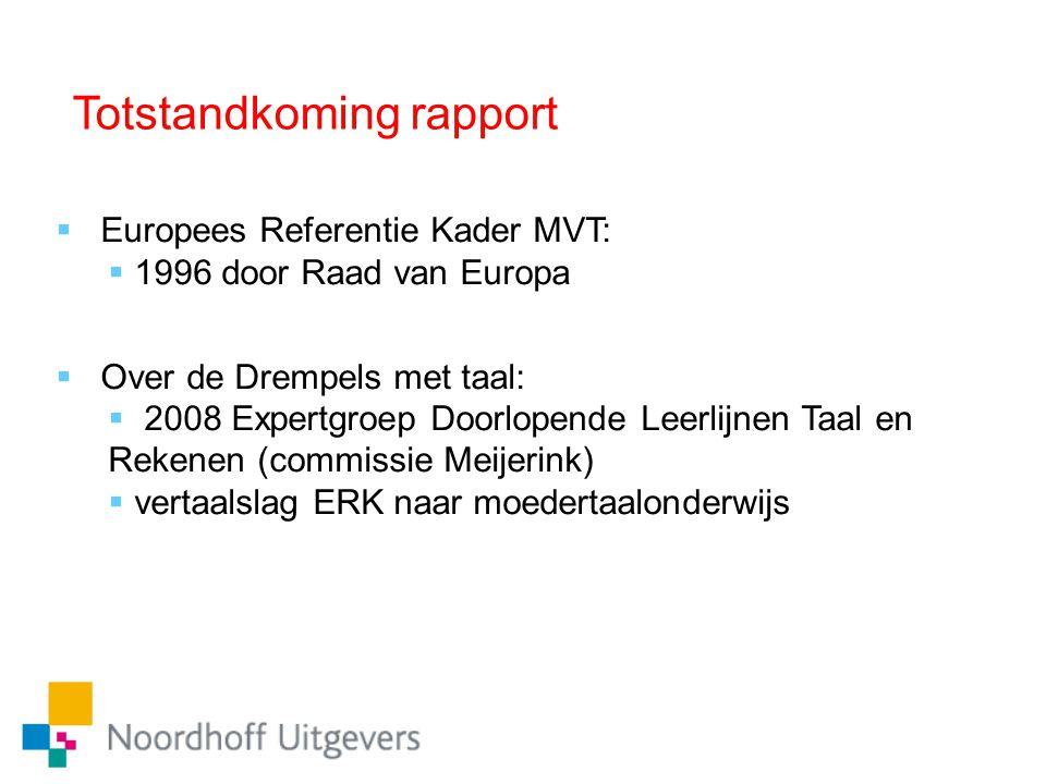 Totstandkoming rapport  Europees Referentie Kader MVT:  1996 door Raad van Europa  Over de Drempels met taal:  2008 Expertgroep Doorlopende Leerli