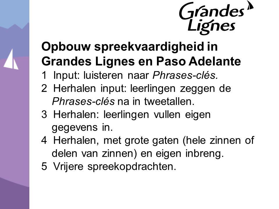 Opbouw spreekvaardigheid in Grandes Lignes en Paso Adelante 1 Input: luisteren naar Phrases-clés.