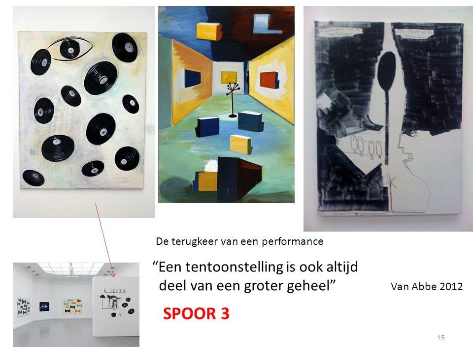 """SPOOR 3 """"Een tentoonstelling is ook altijd deel van een groter geheel"""" Van Abbe 2012 De terugkeer van een performance SPOOR 3 15"""