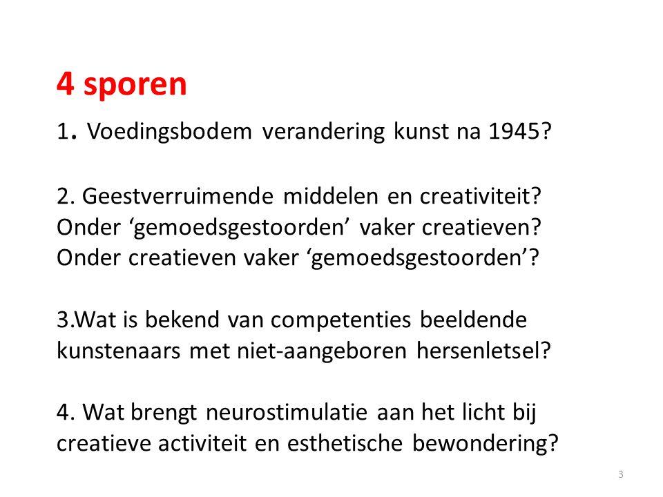 4 sporen 1. Voedingsbodem verandering kunst na 1945? 2. Geestverruimende middelen en creativiteit? Onder 'gemoedsgestoorden' vaker creatieven? Onder c