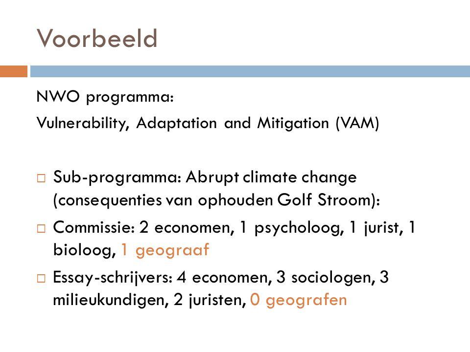Voorbeeld NWO programma: Vulnerability, Adaptation and Mitigation (VAM)  Sub-programma: Abrupt climate change (consequenties van ophouden Golf Stroom):  Commissie: 2 economen, 1 psycholoog, 1 jurist, 1 bioloog, 1 geograaf  Essay-schrijvers: 4 economen, 3 sociologen, 3 milieukundigen, 2 juristen, 0 geografen