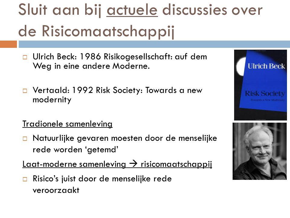 Sluit aan bij actuele discussies over de Risicomaatschappij  Ulrich Beck: 1986 Risikogesellschaft: auf dem Weg in eine andere Moderne.