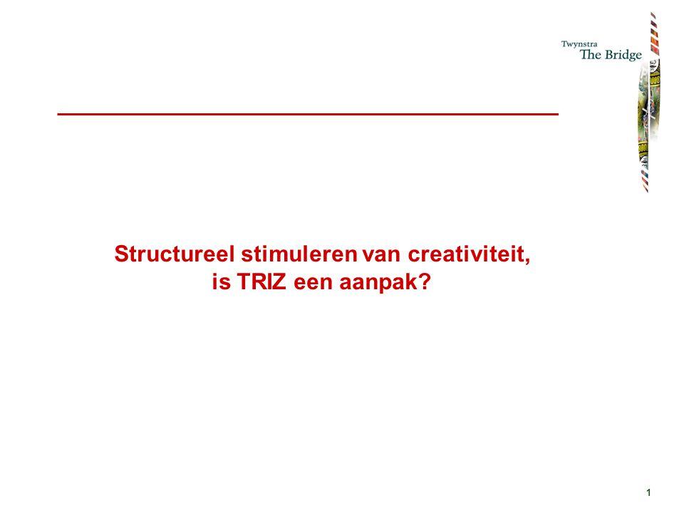 1 Structureel stimuleren van creativiteit, is TRIZ een aanpak