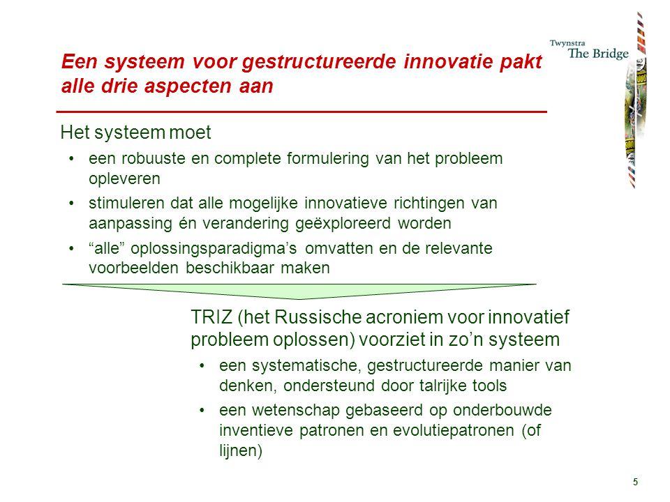 5 Een systeem voor gestructureerde innovatie pakt alle drie aspecten aan Het systeem moet een robuuste en complete formulering van het probleem opleveren stimuleren dat alle mogelijke innovatieve richtingen van aanpassing én verandering geëxploreerd worden alle oplossingsparadigma's omvatten en de relevante voorbeelden beschikbaar maken TRIZ (het Russische acroniem voor innovatief probleem oplossen) voorziet in zo'n systeem een systematische, gestructureerde manier van denken, ondersteund door talrijke tools een wetenschap gebaseerd op onderbouwde inventieve patronen en evolutiepatronen (of lijnen)