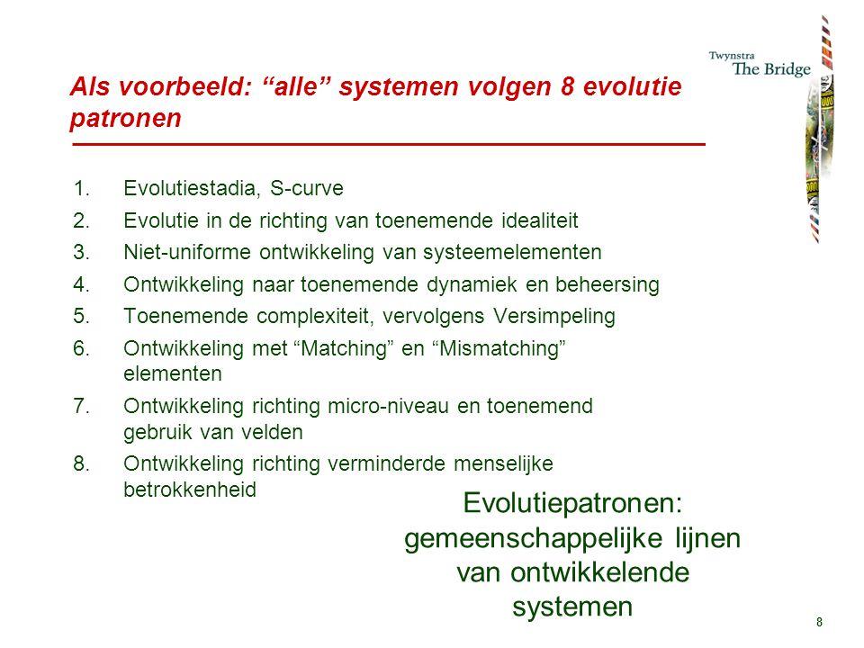 8 Als voorbeeld: alle systemen volgen 8 evolutie patronen 1.Evolutiestadia, S-curve 2.Evolutie in de richting van toenemende idealiteit 3.Niet-uniforme ontwikkeling van systeemelementen 4.Ontwikkeling naar toenemende dynamiek en beheersing 5.Toenemende complexiteit, vervolgens Versimpeling 6.Ontwikkeling met Matching en Mismatching elementen 7.Ontwikkeling richting micro-niveau en toenemend gebruik van velden 8.Ontwikkeling richting verminderde menselijke betrokkenheid Evolutiepatronen: gemeenschappelijke lijnen van ontwikkelende systemen