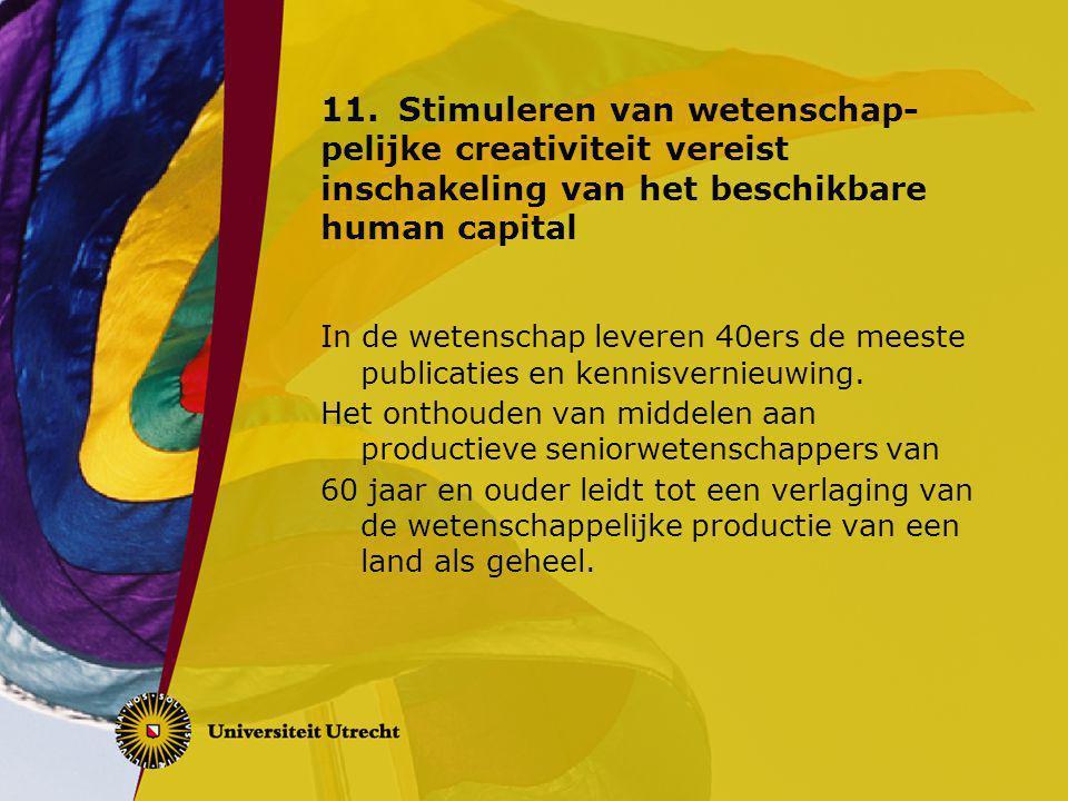 11.Stimuleren van wetenschap- pelijke creativiteit vereist inschakeling van het beschikbare human capital In de wetenschap leveren 40ers de meeste publicaties en kennisvernieuwing.