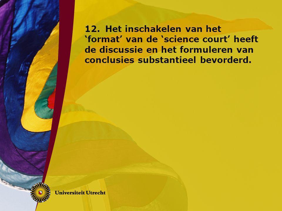 12.Het inschakelen van het 'format' van de 'science court' heeft de discussie en het formuleren van conclusies substantieel bevorderd.