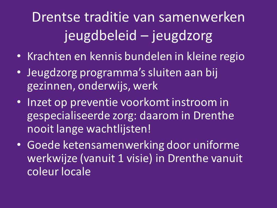 Drentse traditie van samenwerken jeugdbeleid – jeugdzorg Krachten en kennis bundelen in kleine regio Jeugdzorg programma's sluiten aan bij gezinnen, onderwijs, werk Inzet op preventie voorkomt instroom in gespecialiseerde zorg: daarom in Drenthe nooit lange wachtlijsten.