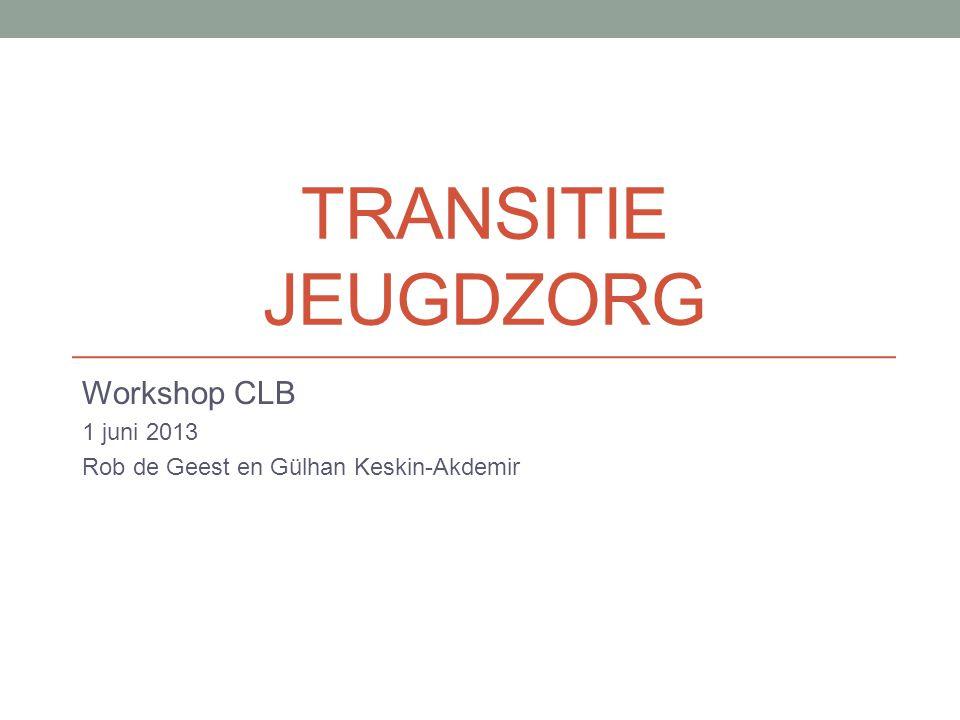 TRANSITIE JEUGDZORG Workshop CLB 1 juni 2013 Rob de Geest en Gülhan Keskin-Akdemir