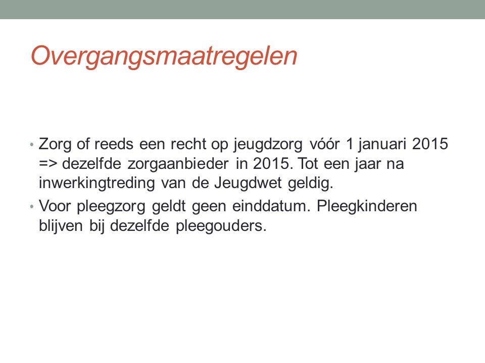 Overgangsmaatregelen Zorg of reeds een recht op jeugdzorg vóór 1 januari 2015 => dezelfde zorgaanbieder in 2015.