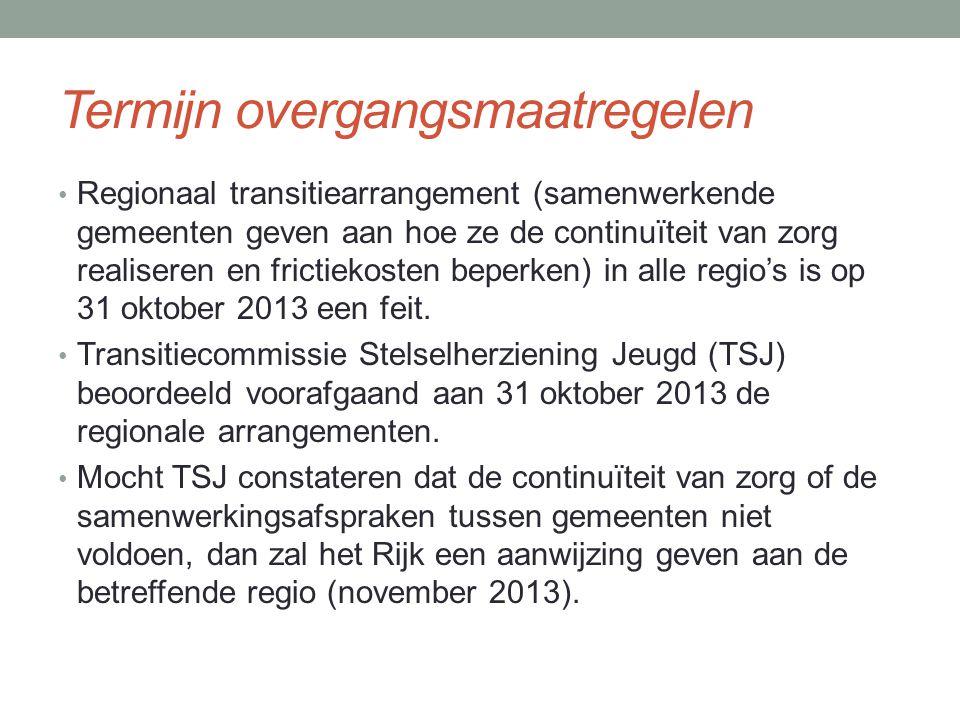 Termijn overgangsmaatregelen Regionaal transitiearrangement (samenwerkende gemeenten geven aan hoe ze de continuïteit van zorg realiseren en frictiekosten beperken) in alle regio's is op 31 oktober 2013 een feit.