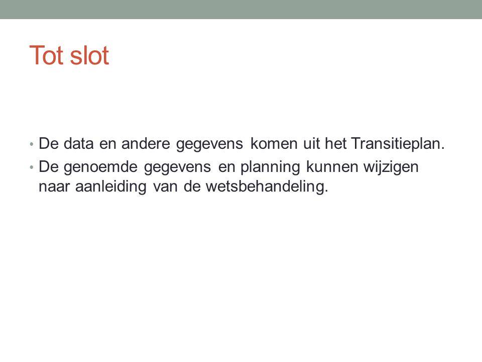 Tot slot De data en andere gegevens komen uit het Transitieplan.
