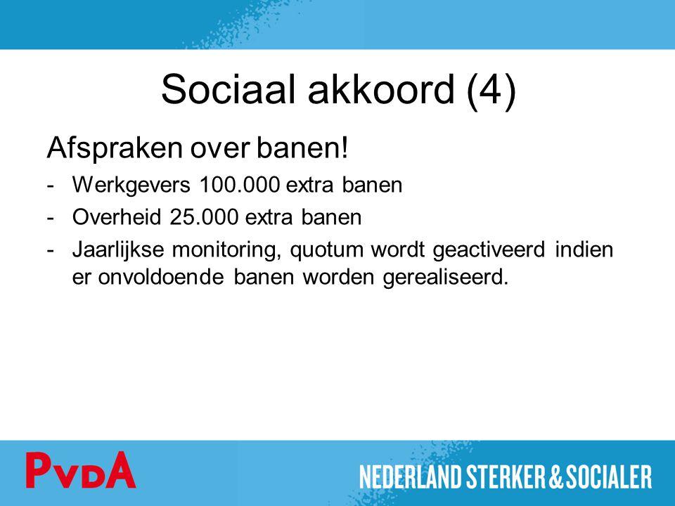 Sociaal akkoord (4) Afspraken over banen! -Werkgevers 100.000 extra banen -Overheid 25.000 extra banen -Jaarlijkse monitoring, quotum wordt geactiveer