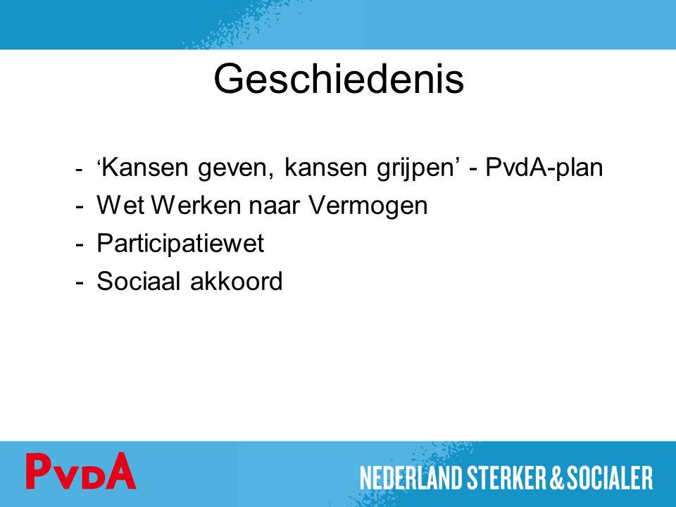 Geschiedenis -' Kansen geven, kansen grijpen' - PvdA-plan -Wet Werken naar Vermogen -Participatiewet -Sociaal akkoord