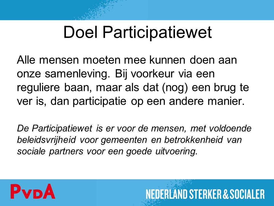 Doel Participatiewet Alle mensen moeten mee kunnen doen aan onze samenleving. Bij voorkeur via een reguliere baan, maar als dat (nog) een brug te ver