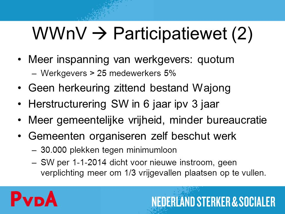 WWnV  Participatiewet (2) Meer inspanning van werkgevers: quotum –Werkgevers > 25 medewerkers 5% Geen herkeuring zittend bestand Wajong Herstructurer