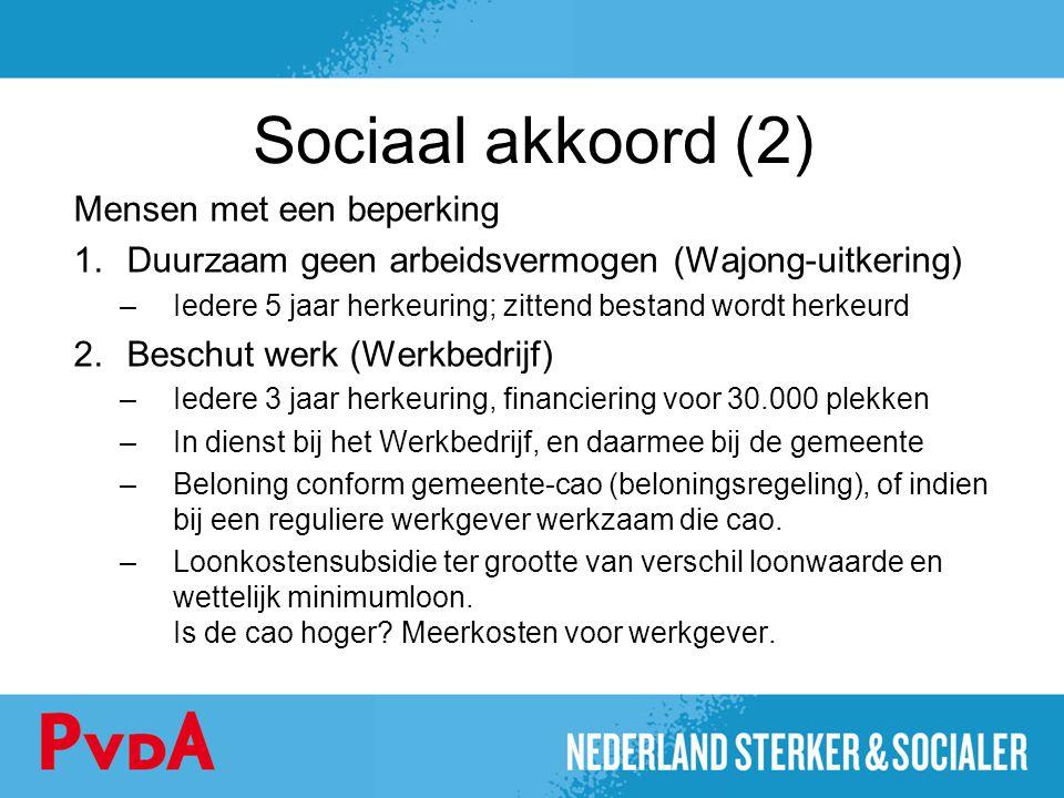Sociaal akkoord (2) Mensen met een beperking 1.Duurzaam geen arbeidsvermogen (Wajong-uitkering) –Iedere 5 jaar herkeuring; zittend bestand wordt herke