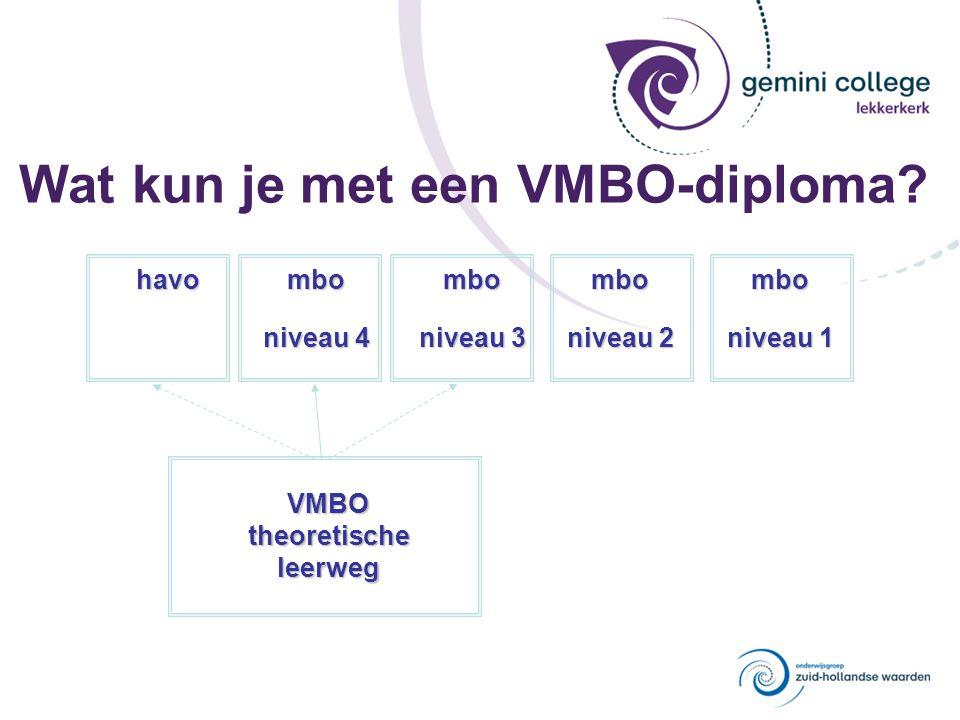 Wat kun je met een VMBO-diploma? VMBOtheoretischeleerweg havombo niveau 4 mbo niveau 3 mbo niveau 2 mbo niveau 1