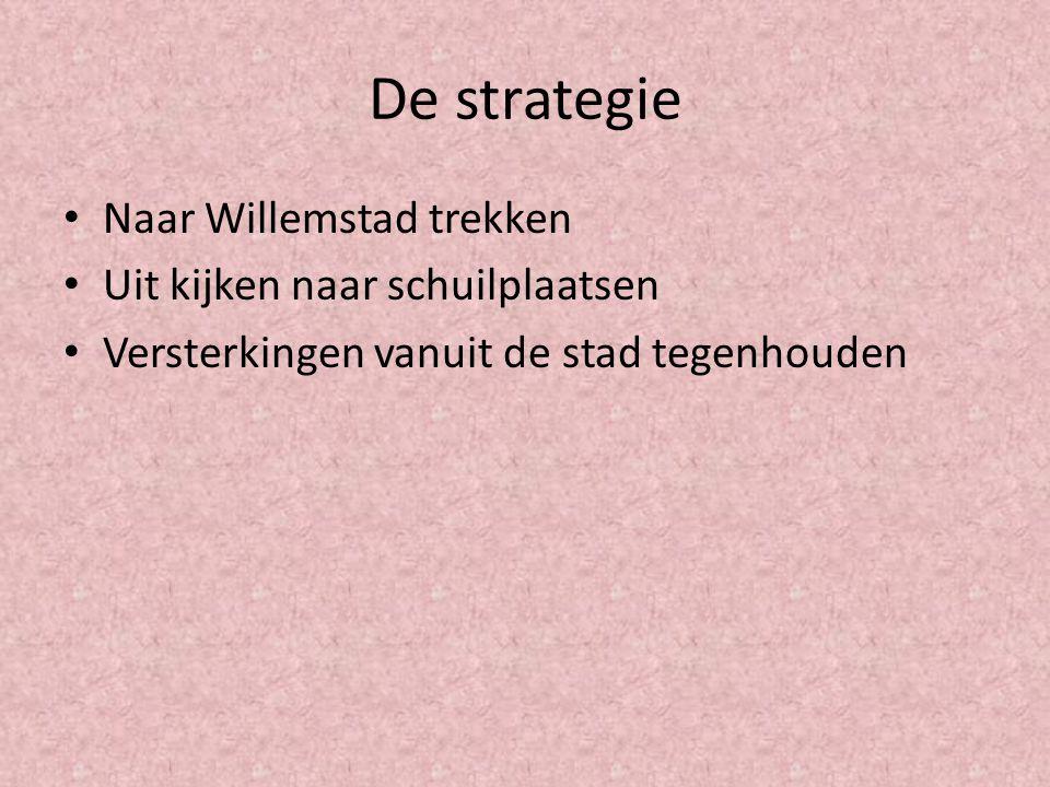 De strategie Naar Willemstad trekken Uit kijken naar schuilplaatsen Versterkingen vanuit de stad tegenhouden