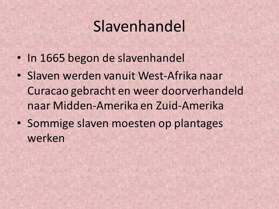Slavenhandel In 1665 begon de slavenhandel Slaven werden vanuit West-Afrika naar Curacao gebracht en weer doorverhandeld naar Midden-Amerika en Zuid-A