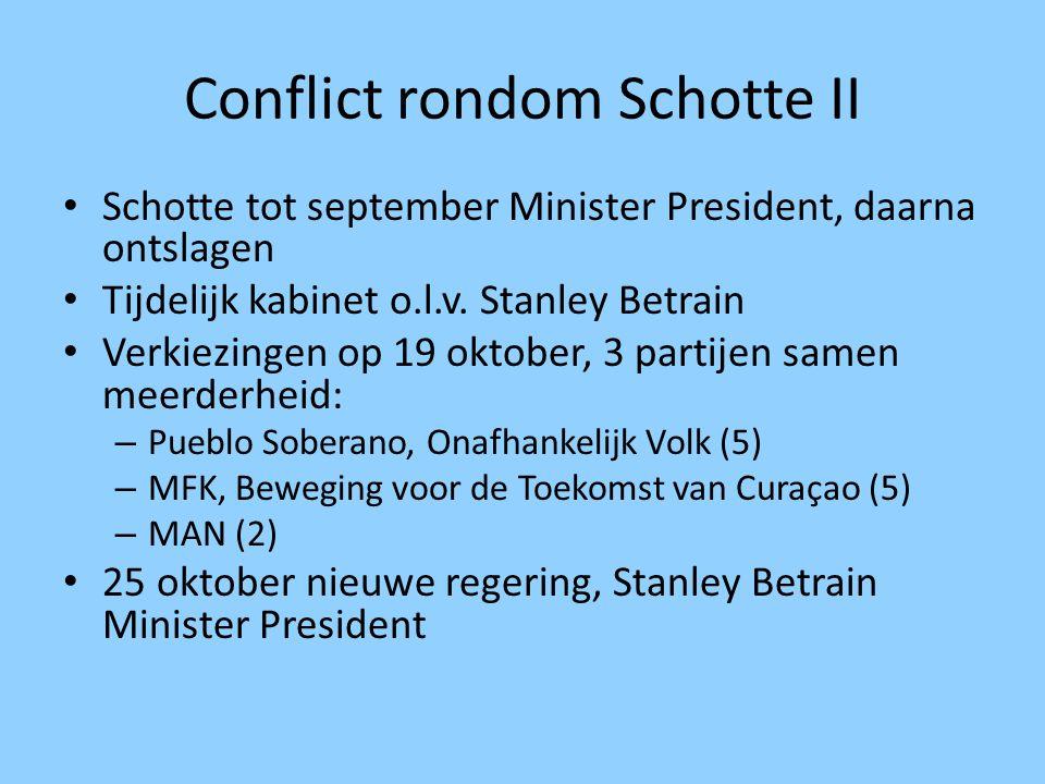 Conflict rondom Schotte II Schotte tot september Minister President, daarna ontslagen Tijdelijk kabinet o.l.v. Stanley Betrain Verkiezingen op 19 okto