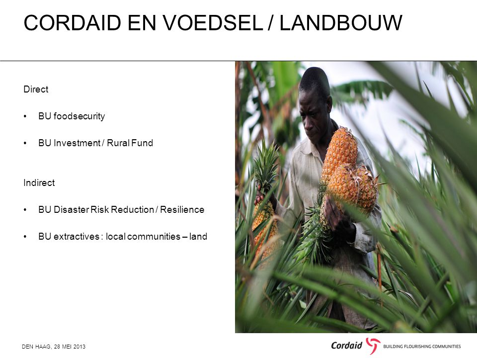 CORDAID EN VOEDSEL / LANDBOUW DEN HAAG, 28 MEI 2013 Direct BU foodsecurity BU Investment / Rural Fund Indirect BU Disaster Risk Reduction / Resilience BU extractives : local communities – land