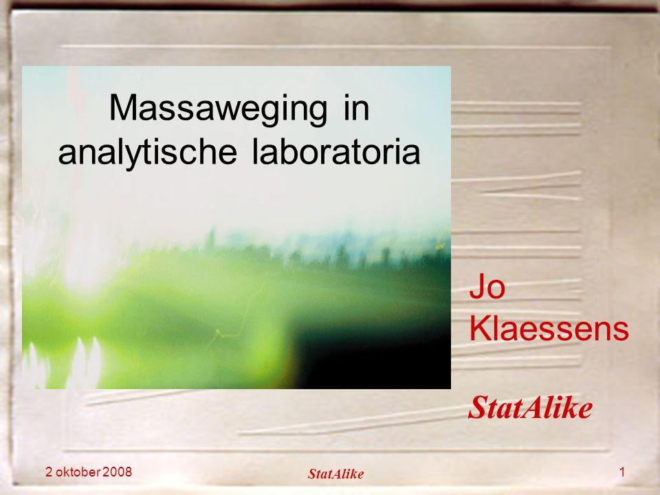 2 oktober 2008 StatAlike 1 Jo Klaessens Massaweging in analytische laboratoria StatAlike