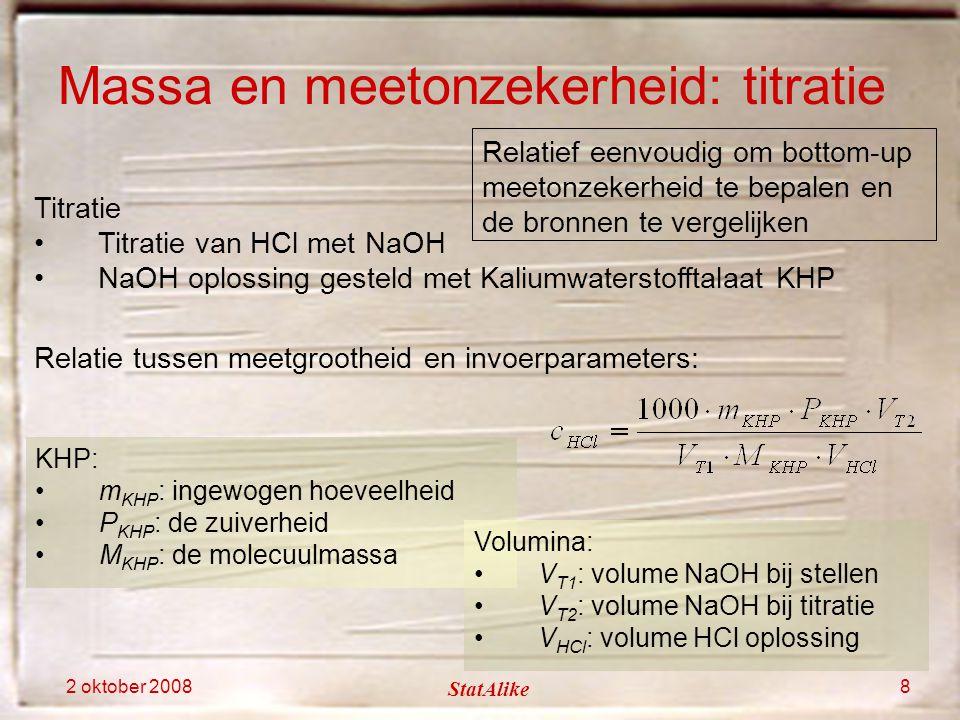 2 oktober 2008 StatAlike 8 Titratie Titratie van HCl met NaOH NaOH oplossing gesteld met Kaliumwaterstofftalaat KHP Massa en meetonzekerheid: titratie