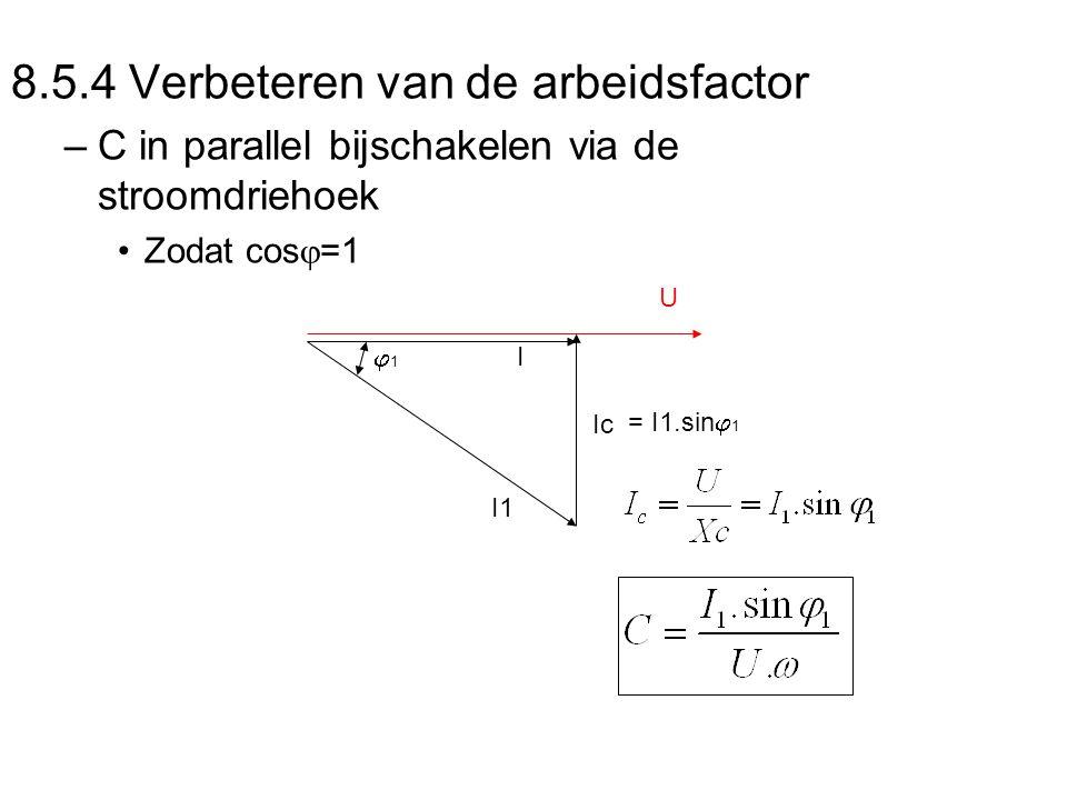 8.5.4 Verbeteren van de arbeidsfactor –C in parallel bijschakelen via de stroomdriehoek Zodat cos  =1 11 I1 Ic U I = I1.sin  1