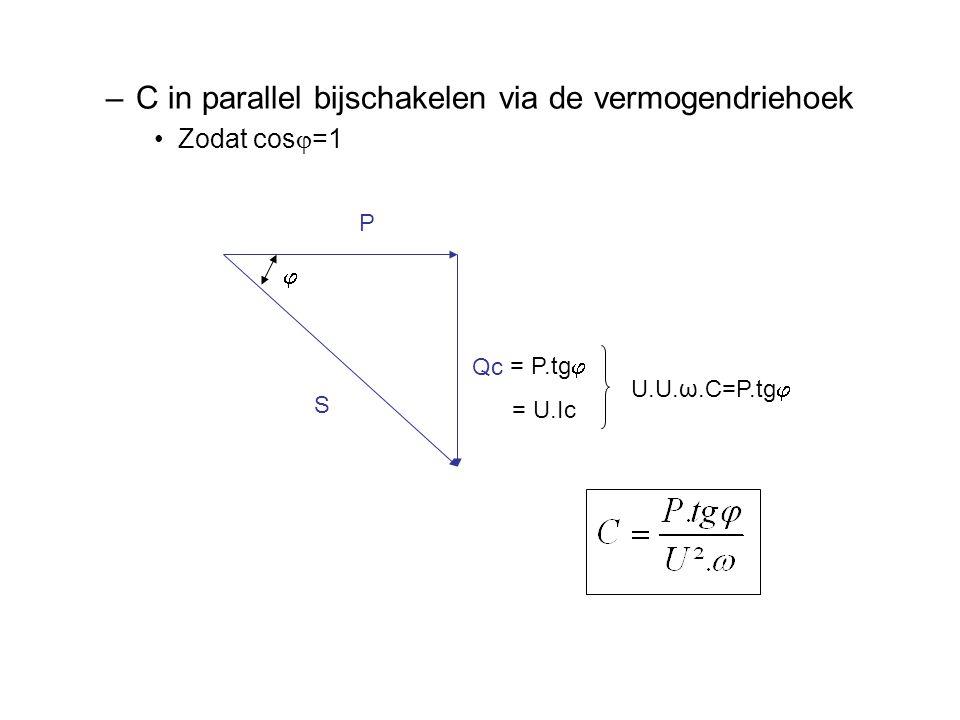 –C in parallel bijschakelen via de vermogendriehoek Zodat cos  =1 P Qc S  = P.tg  = U.Ic U.U.ω.C=P.tg 