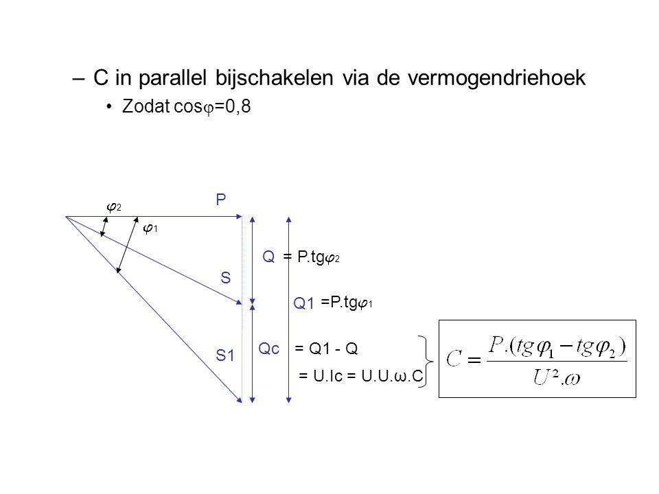 –C in parallel bijschakelen via de vermogendriehoek Zodat cos  =0,8 22 11 P S S1 Q Qc Q1 = P.tg  2 =P.tg  1 = Q1 - Q = U.Ic = U.U.ω.C