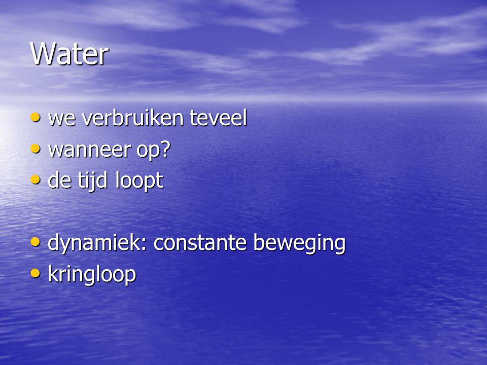 Water we verbruiken teveel we verbruiken teveel wanneer op? wanneer op? de tijd loopt de tijd loopt dynamiek: constante beweging dynamiek: constante b