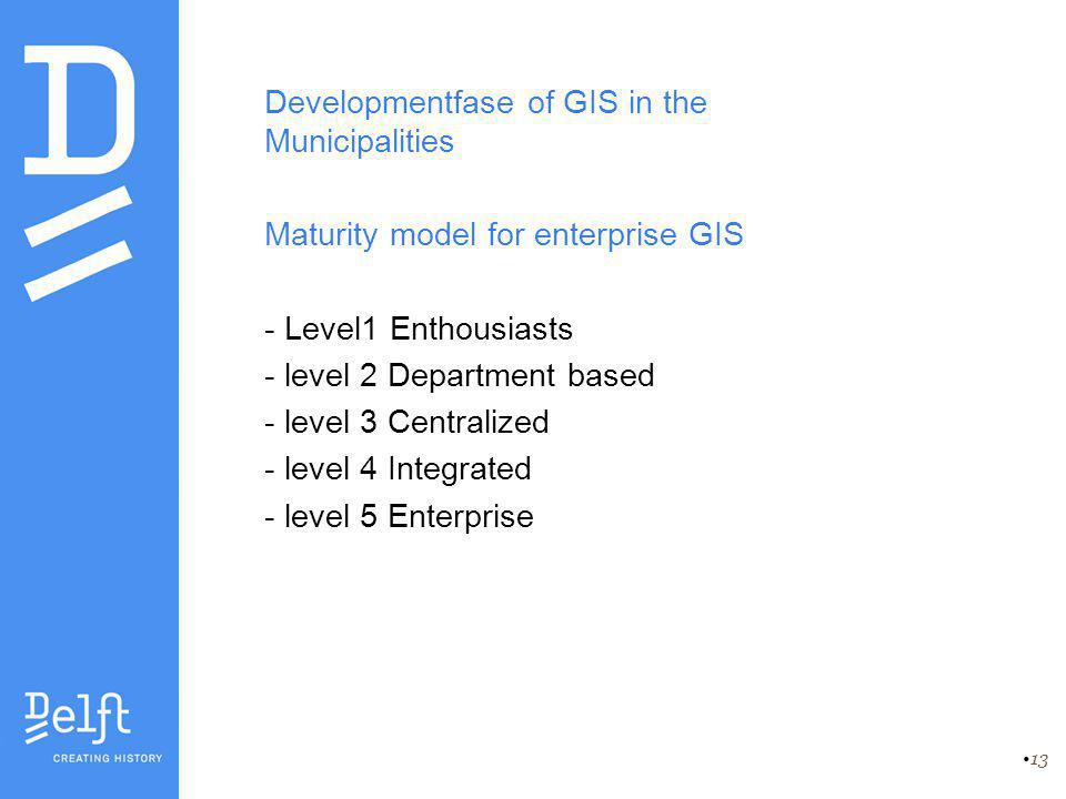 13 Developmentfase of GIS in the Municipalities Maturity model for enterprise GIS - Level1 Enthousiasts - level 2 Department based - level 3 Centraliz