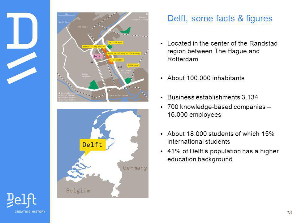 Delft, some facts & figures Located in the center of the Randstad region between The Hague and Rotterdam About 100.000 inhabitants Business establishments 3.134 700 knowledge-based companies – 16.000 employees About 18.000 students of which 15% international students 41% of Delft's population has a higher education background 3