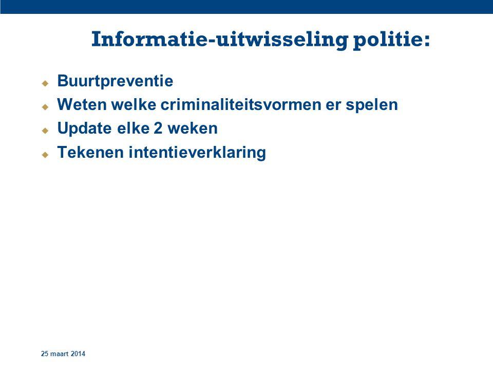 25 maart 2014 Informatie-uitwisseling politie:  Buurtpreventie  Weten welke criminaliteitsvormen er spelen  Update elke 2 weken  Tekenen intentieverklaring