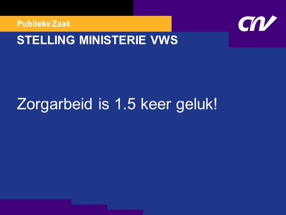 Publieke Zaak STELLING MINISTERIE VWS Zorgarbeid is 1.5 keer geluk!