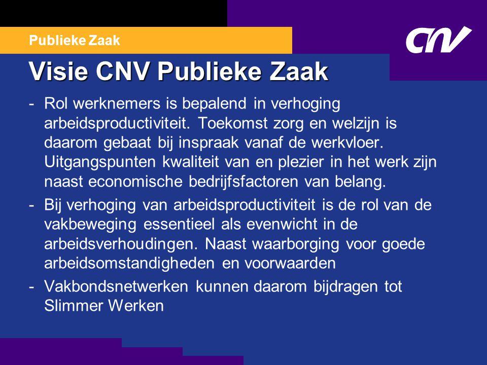Publieke Zaak Visie CNV Publieke Zaak -Rol werknemers is bepalend in verhoging arbeidsproductiviteit.
