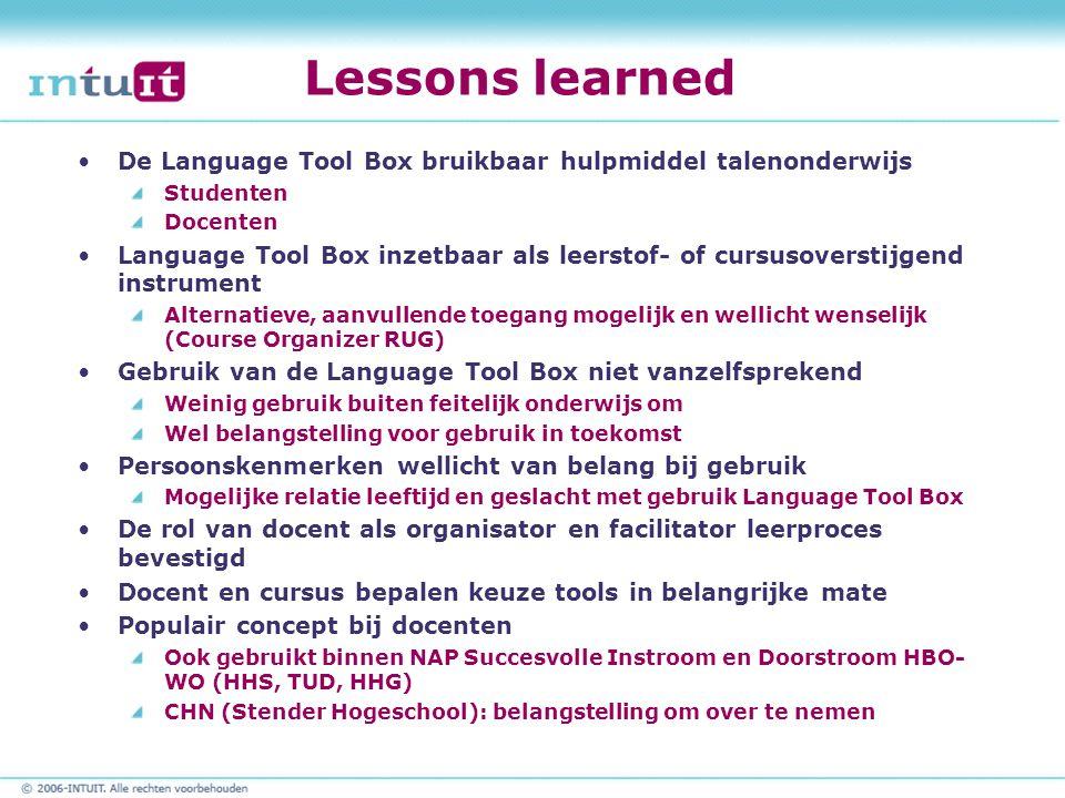 Lessons learned De Language Tool Box bruikbaar hulpmiddel talenonderwijs Studenten Docenten Language Tool Box inzetbaar als leerstof- of cursusoversti